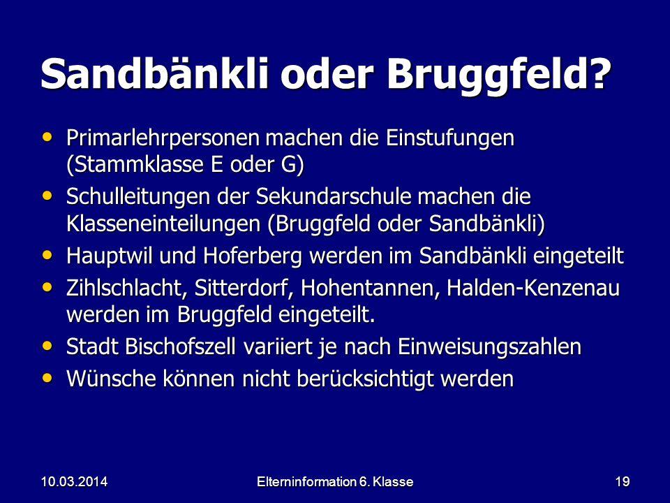 Sandbänkli oder Bruggfeld