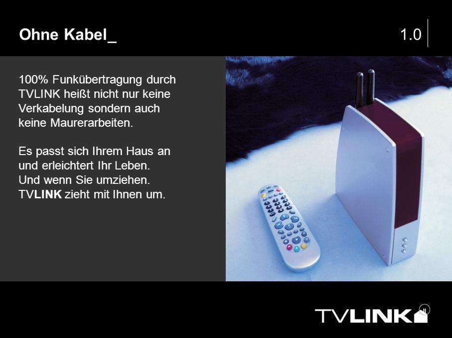 Ohne Kabel_ 1.0. 100% Funkübertragung durch TVLINK heißt nicht nur keine Verkabelung sondern auch keine Maurerarbeiten.