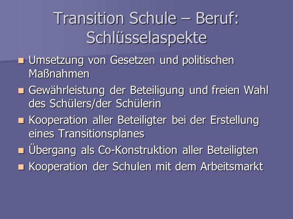 Transition Schule – Beruf: Schlüsselaspekte