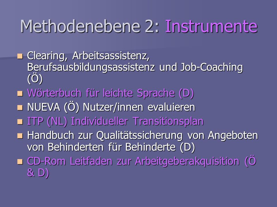 Methodenebene 2: Instrumente