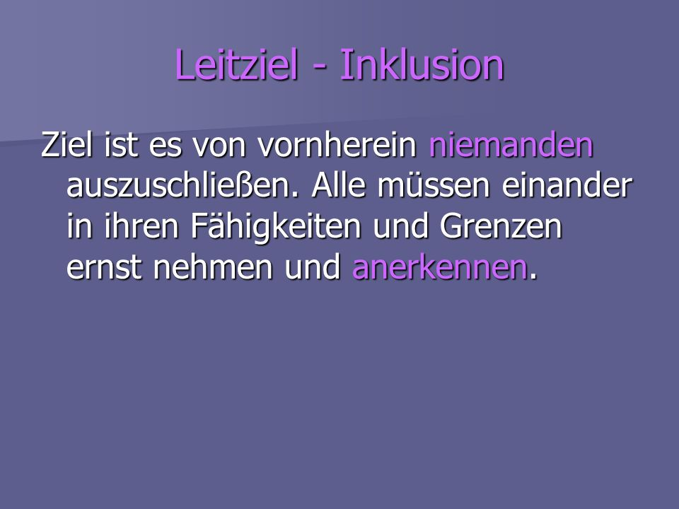 Leitziel - Inklusion