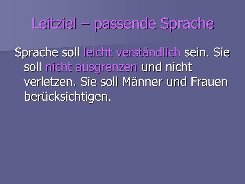 Leitziel – passende Sprache