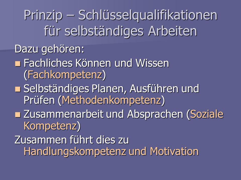 Prinzip – Schlüsselqualifikationen für selbständiges Arbeiten