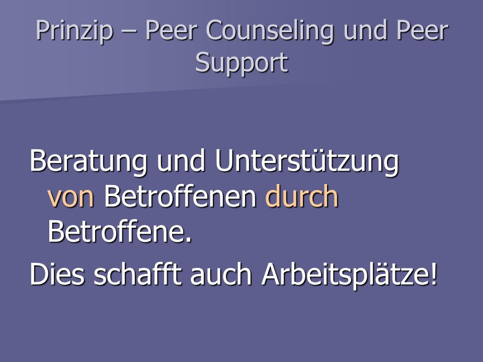 Prinzip – Peer Counseling und Peer Support