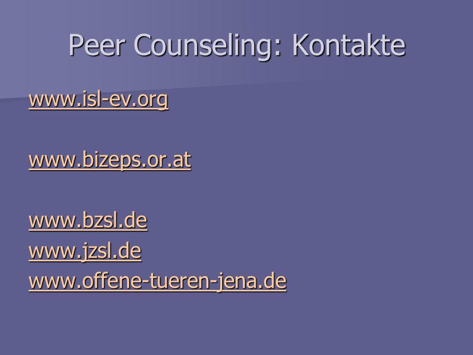 Peer Counseling: Kontakte
