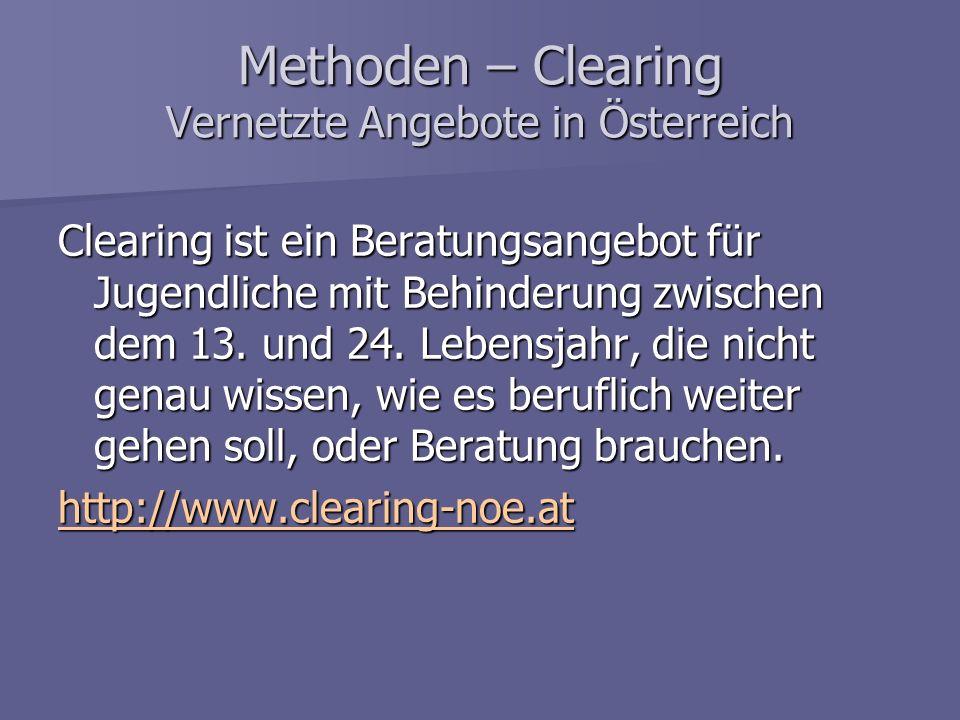 Methoden – Clearing Vernetzte Angebote in Österreich