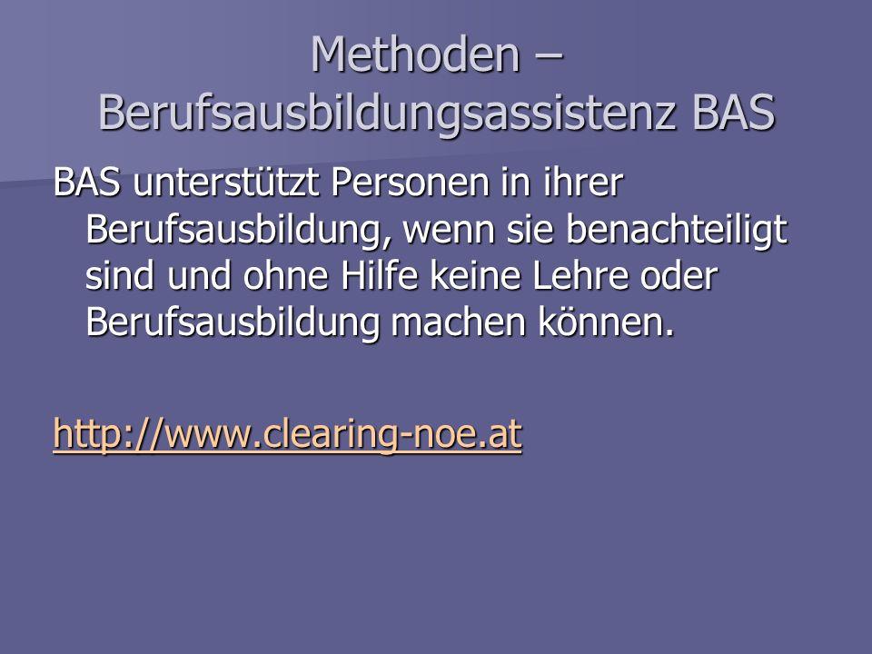 Methoden – Berufsausbildungsassistenz BAS