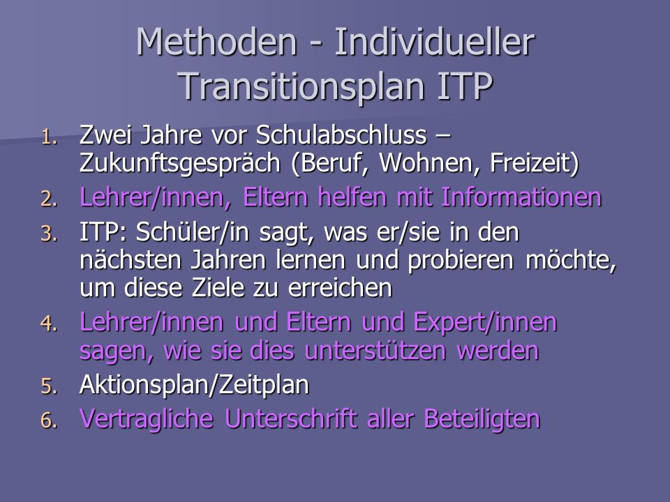 Methoden - Individueller Transitionsplan ITP