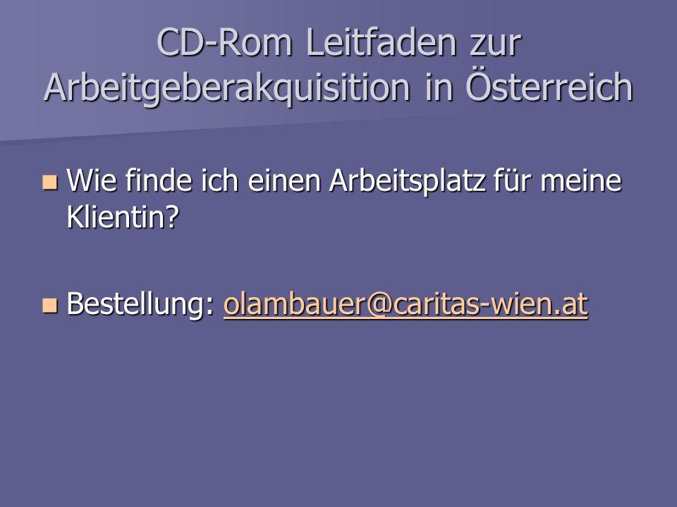 CD-Rom Leitfaden zur Arbeitgeberakquisition in Österreich