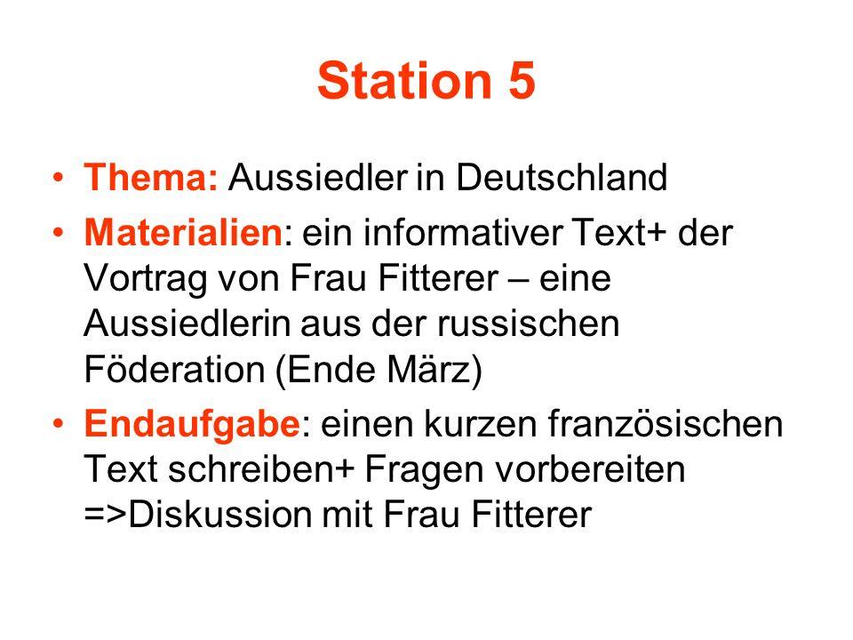 Station 5 Thema: Aussiedler in Deutschland