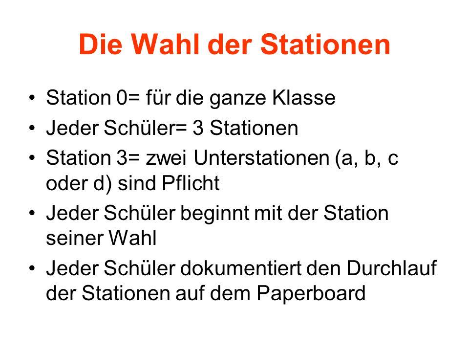 Die Wahl der Stationen Station 0= für die ganze Klasse