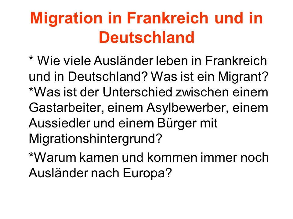 Migration in Frankreich und in Deutschland