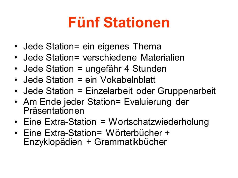 Fünf Stationen Jede Station= ein eigenes Thema