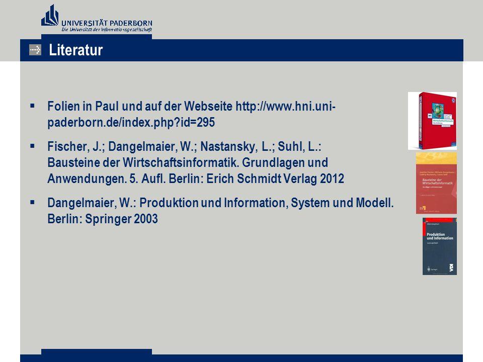 Literatur Folien in Paul und auf der Webseite http://www.hni.uni- paderborn.de/index.php id=295.