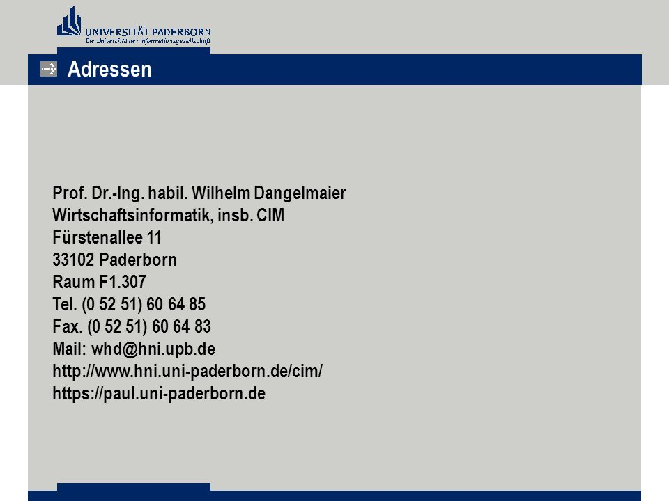 Adressen Prof. Dr.-Ing. habil. Wilhelm Dangelmaier