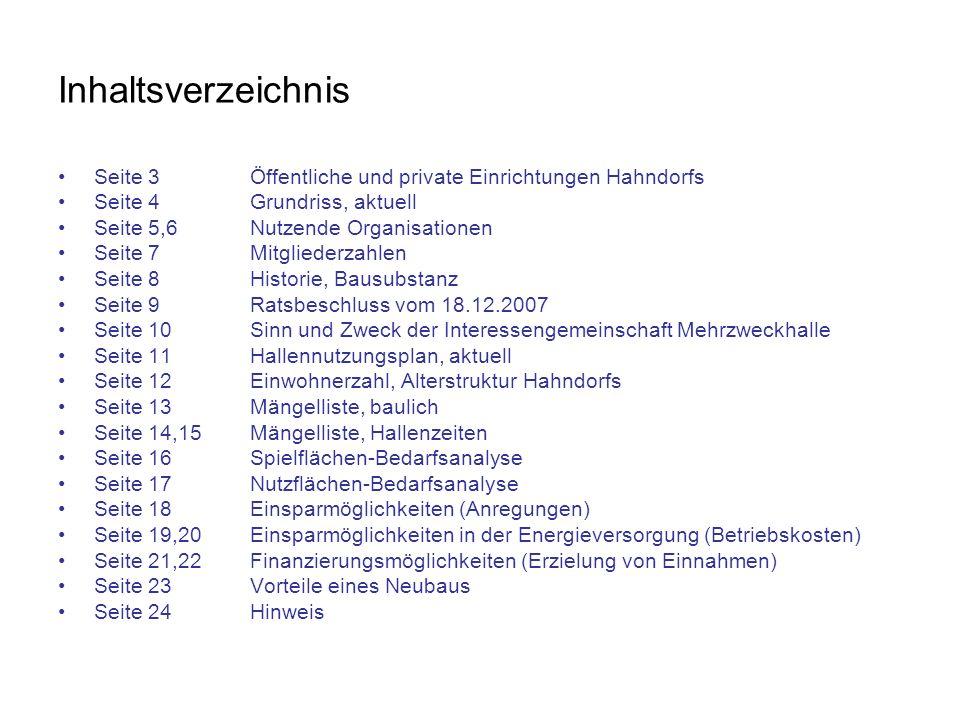 Inhaltsverzeichnis Seite 3 Öffentliche und private Einrichtungen Hahndorfs. Seite 4 Grundriss, aktuell.