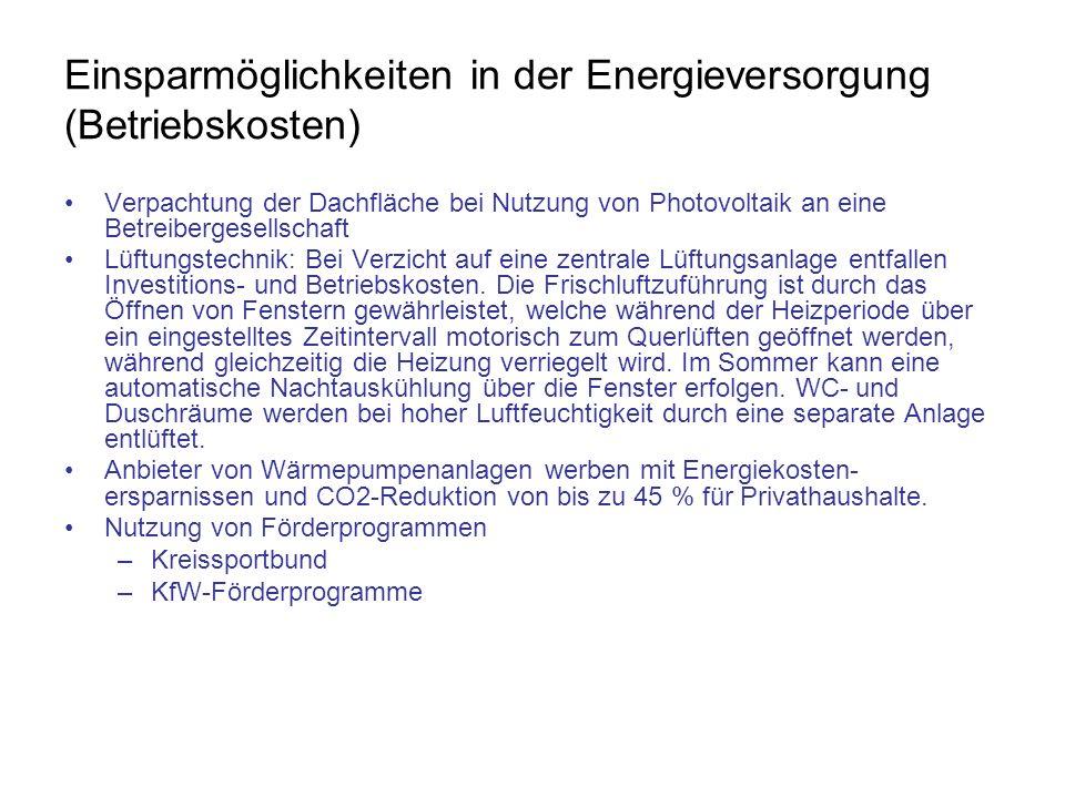 Einsparmöglichkeiten in der Energieversorgung (Betriebskosten)