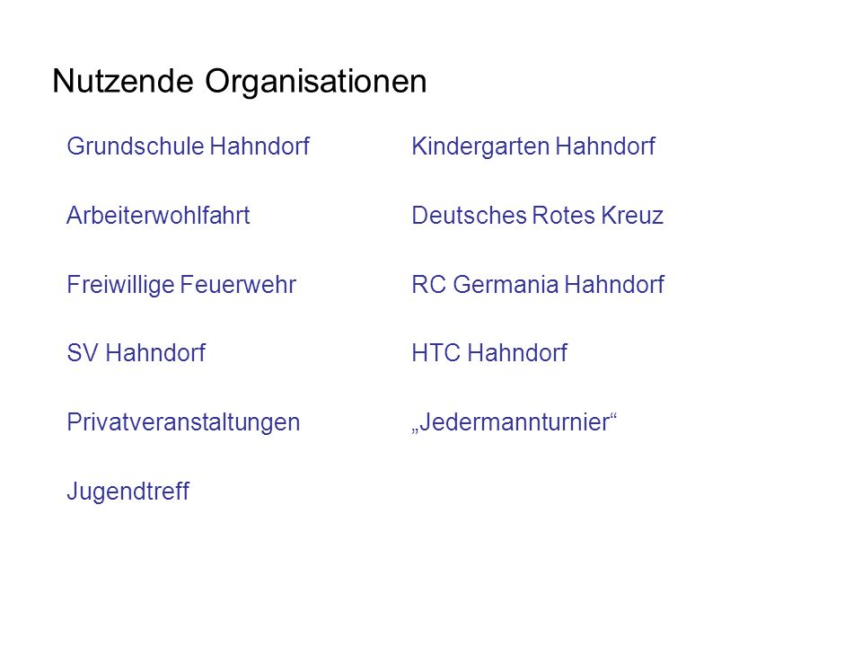 Nutzende Organisationen
