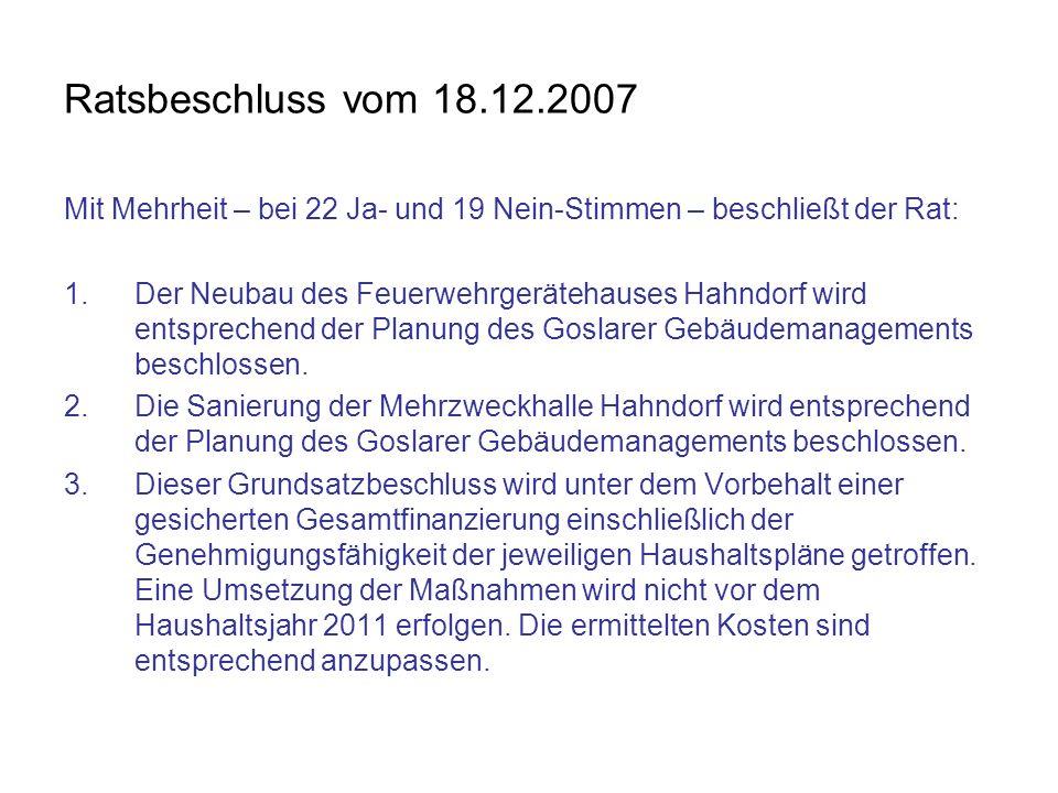 Ratsbeschluss vom 18.12.2007 Mit Mehrheit – bei 22 Ja- und 19 Nein-Stimmen – beschließt der Rat: