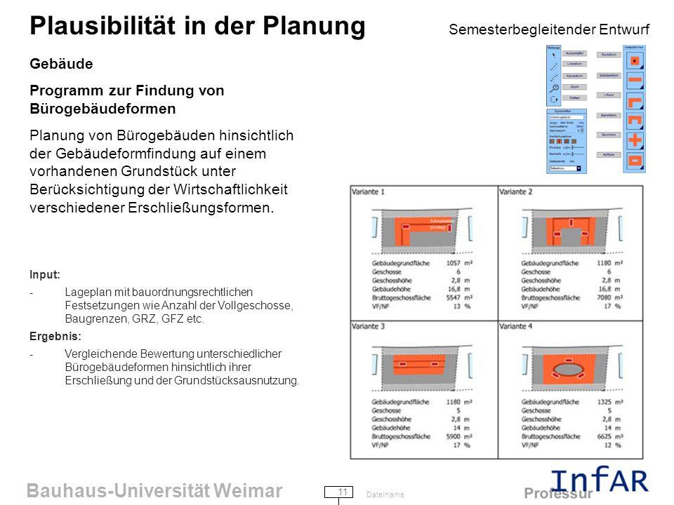 Programm zur Findung von Bürogebäudeformen