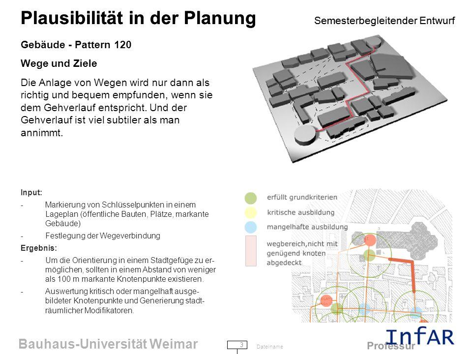 Plausibilität in der Planung Semesterbegleitender Entwurf
