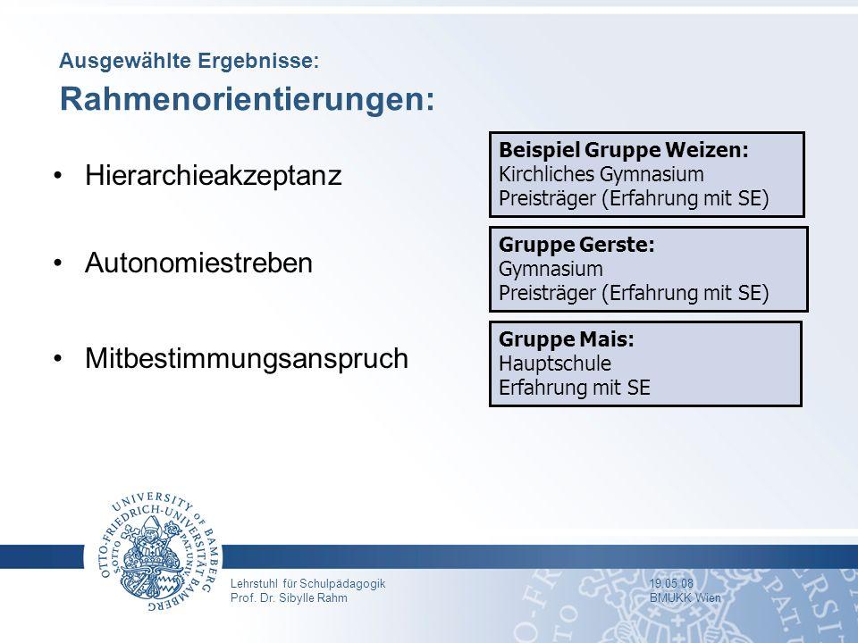 Ausgewählte Ergebnisse: Rahmenorientierungen: