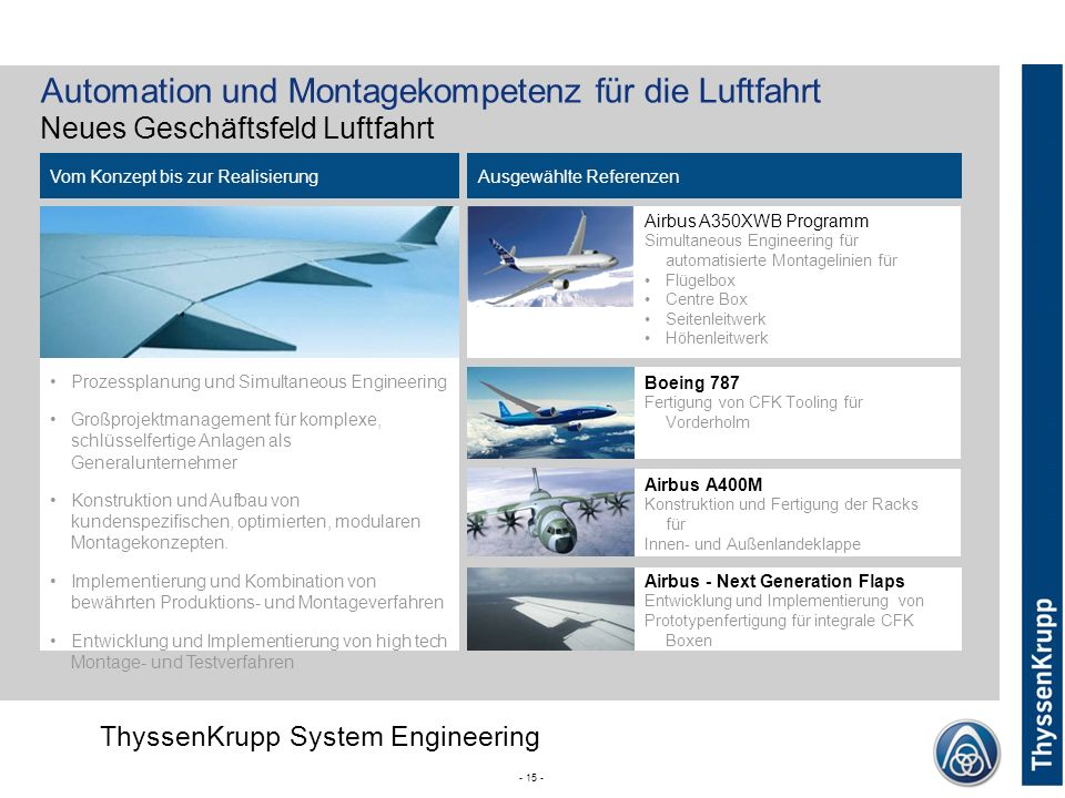 Automation und Montagekompetenz für die Luftfahrt Neues Geschäftsfeld Luftfahrt