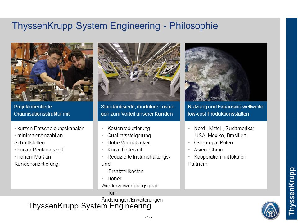 ThyssenKrupp System Engineering - Philosophie