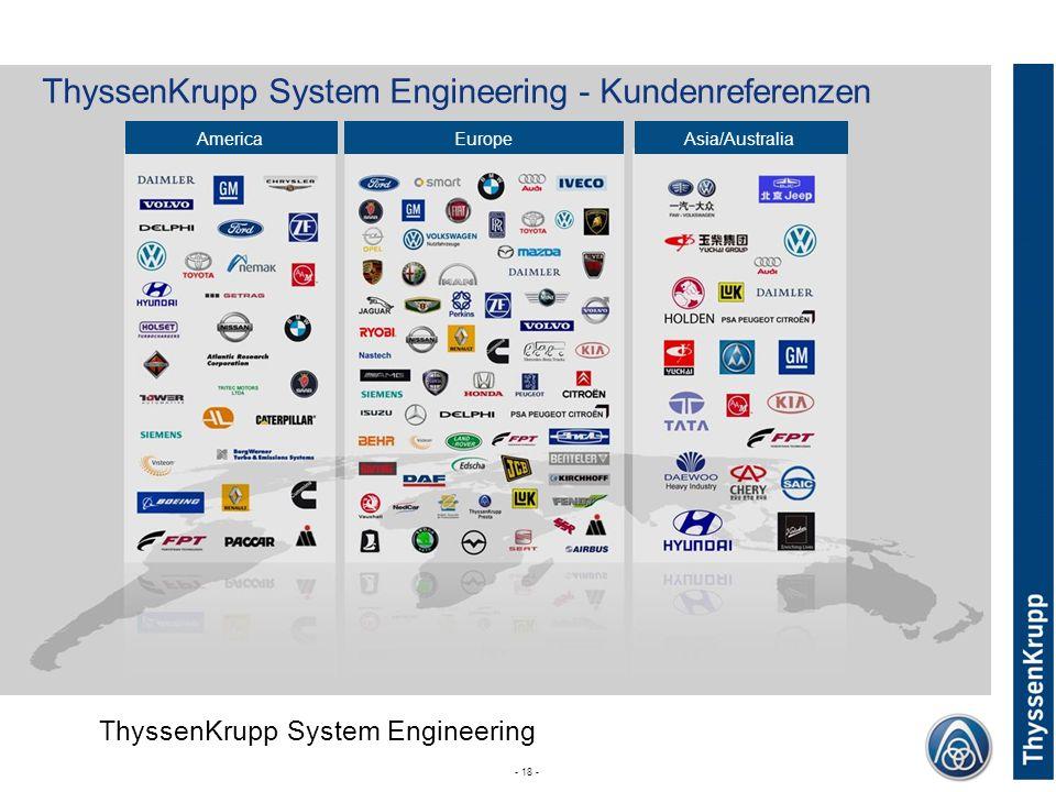 ThyssenKrupp System Engineering - Kundenreferenzen