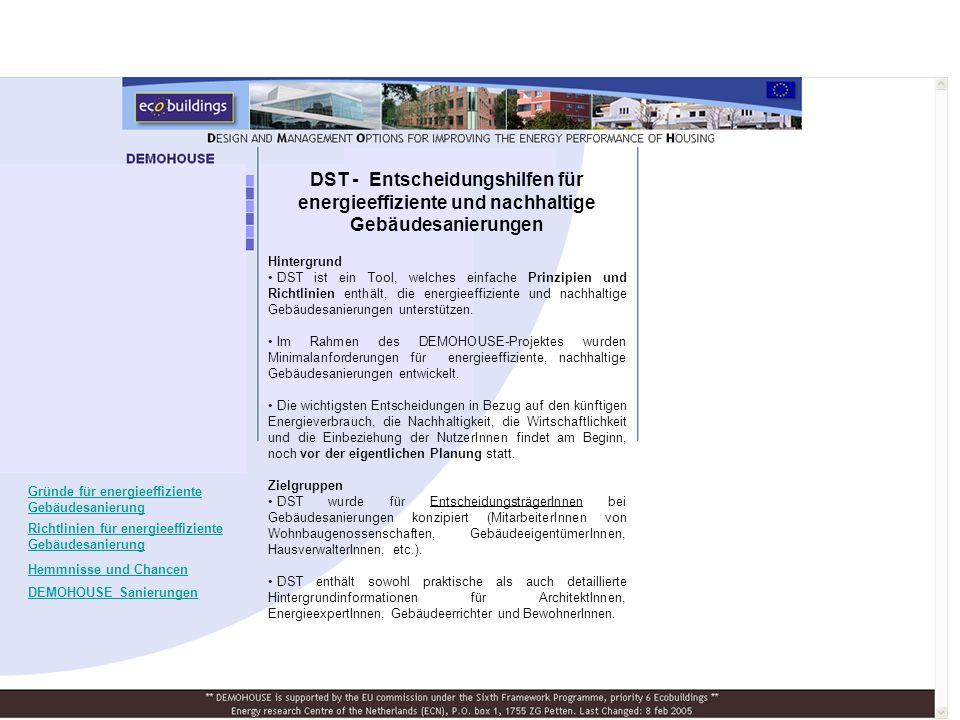 DST - Entscheidungshilfen für energieeffiziente und nachhaltige Gebäudesanierungen