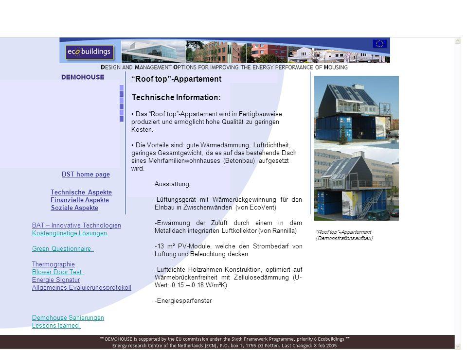 Roof top -Appartement Technische Information: