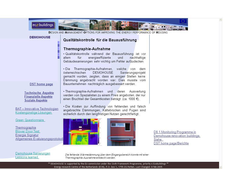 Qualitätskontrolle für die Bauausführung Thermographie-Aufnahme
