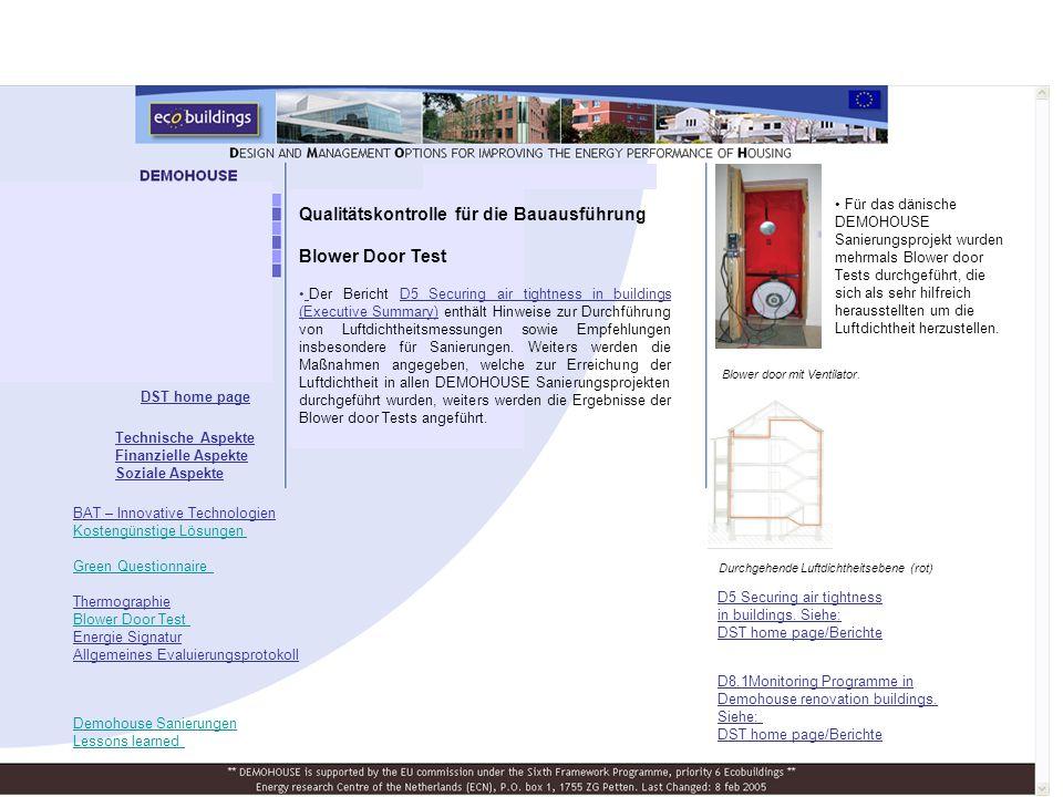 Qualitätskontrolle für die Bauausführung Blower Door Test