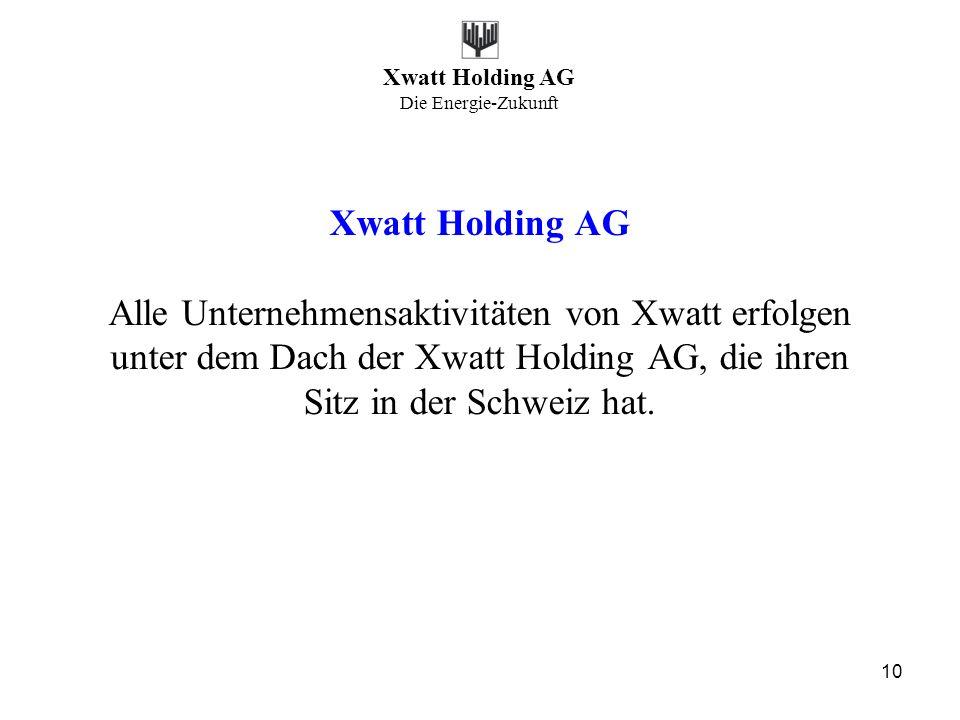 Xwatt Holding AG Alle Unternehmensaktivitäten von Xwatt erfolgen unter dem Dach der Xwatt Holding AG, die ihren Sitz in der Schweiz hat.