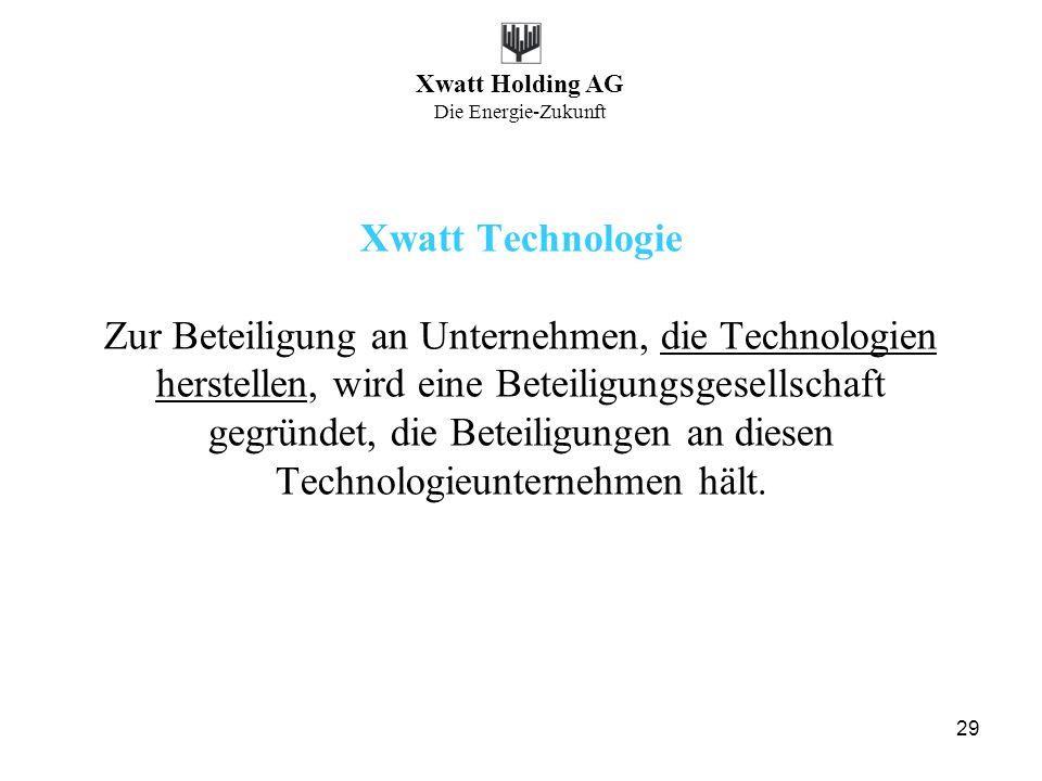 Xwatt Technologie Zur Beteiligung an Unternehmen, die Technologien herstellen, wird eine Beteiligungsgesellschaft gegründet, die Beteiligungen an diesen Technologieunternehmen hält.