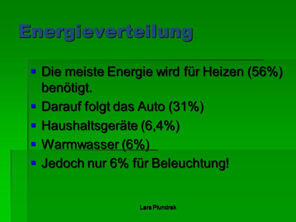 Energieverteilung Die meiste Energie wird für Heizen (56%) benötigt.