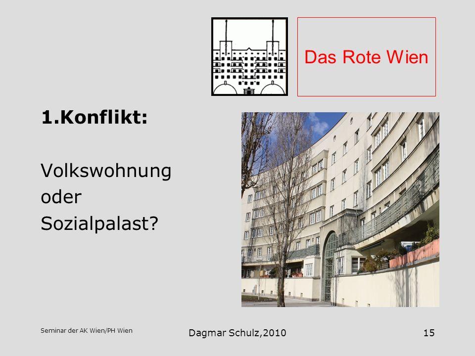 Das Rote Wien 1.Konflikt: Volkswohnung oder Sozialpalast