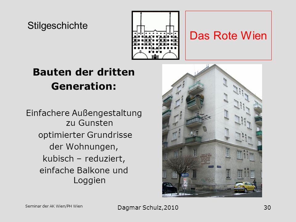 Das Rote Wien Stilgeschichte Bauten der dritten Generation: