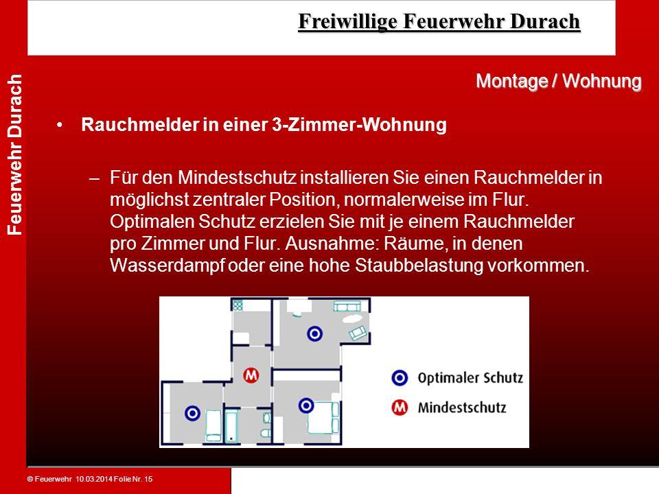 Montage / WohnungRauchmelder in einer 3-Zimmer-Wohnung.