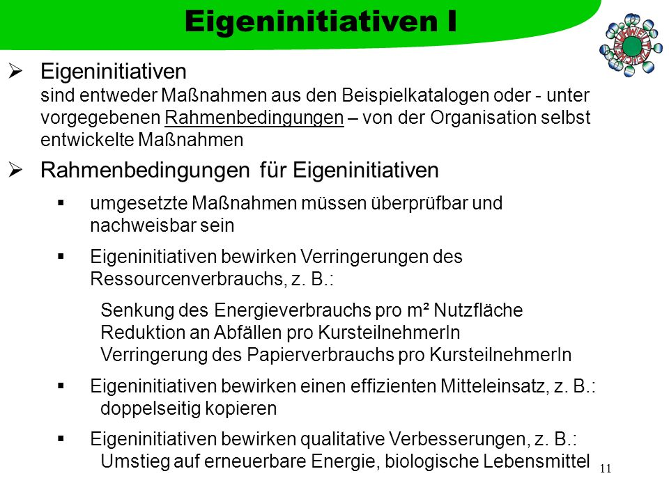Eigeninitiativen I