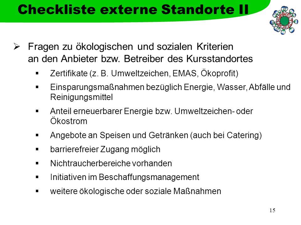 Checkliste externe Standorte II