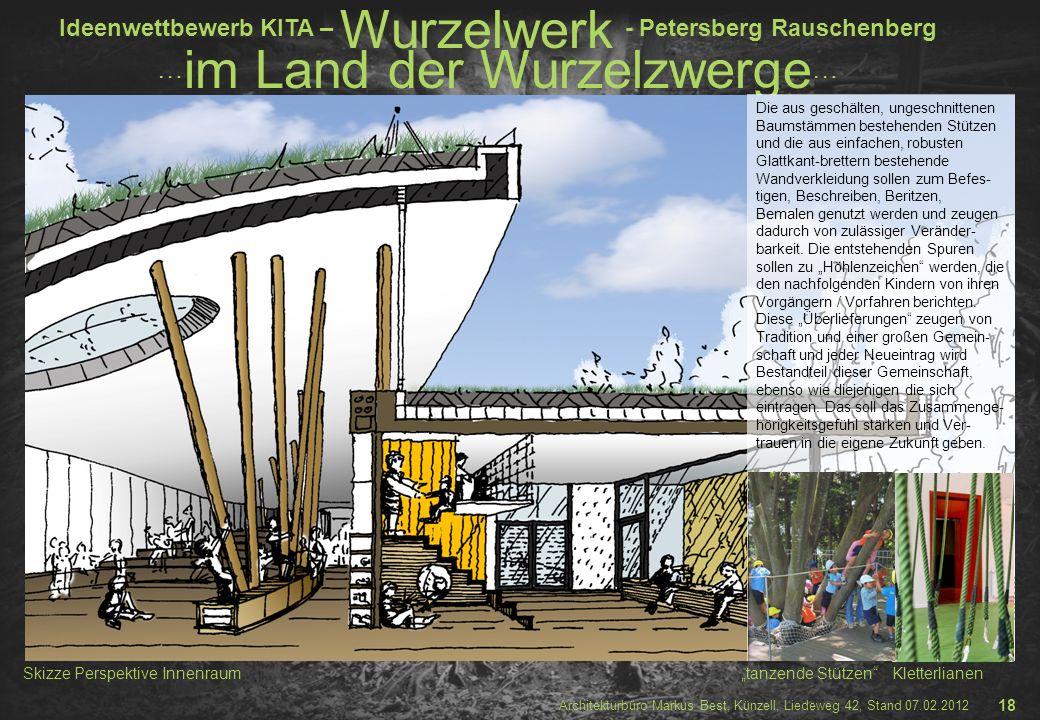 """Skizze Perspektive Innenraum """"tanzende Stützen Kletterlianen"""