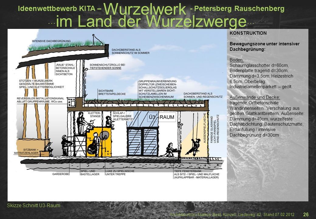 Skizze Schnitt U3-Raum 26 KONSTRUKTION