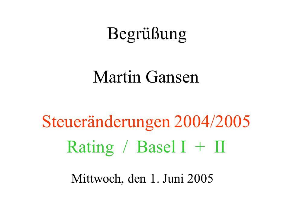 Steueränderungen 2004/2005 Rating / Basel I + II