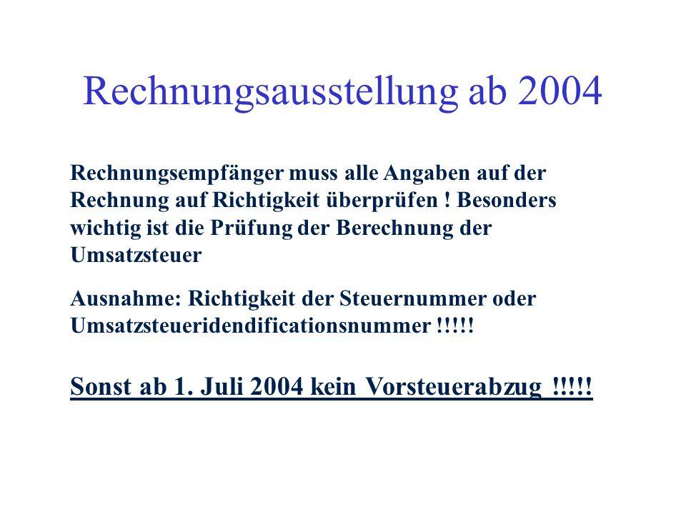 Rechnungsausstellung ab 2004