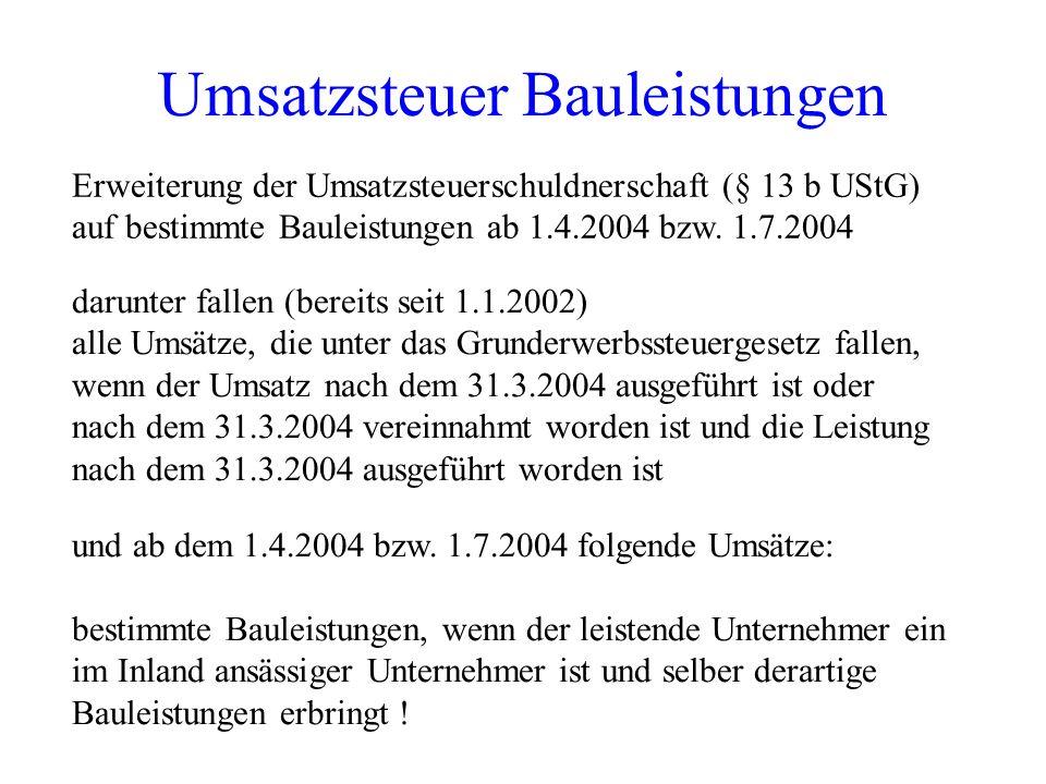 Umsatzsteuer Bauleistungen