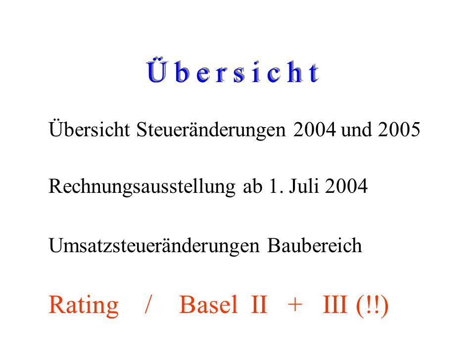 Rechnungsausstellung ab 1. Juli 2004