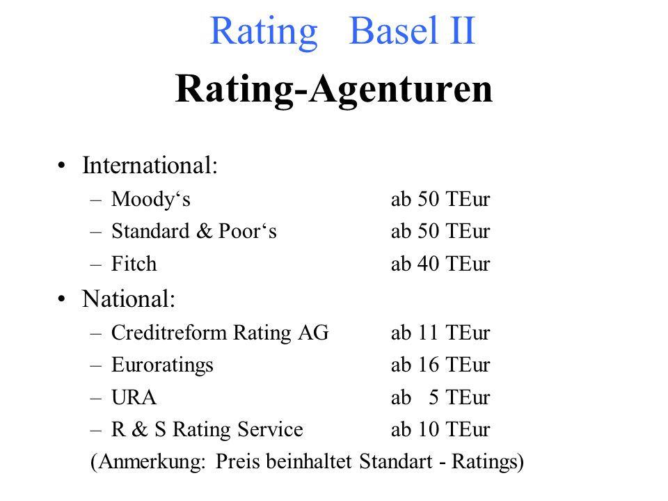 Rating Basel II Rating-Agenturen International: National: