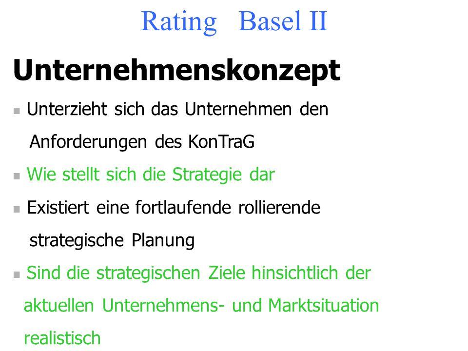 Rating Basel II Unternehmenskonzept