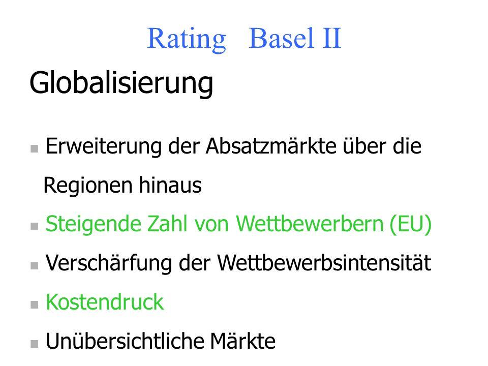 Rating Basel II Globalisierung Erweiterung der Absatzmärkte über die